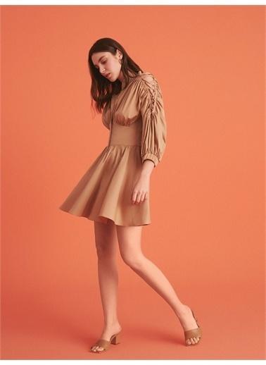 Nocturne Bağcık Detaylı Mini Elbise Bej